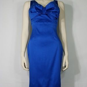 NWT blue jeweled bow sheath bodycon Pin up dress M